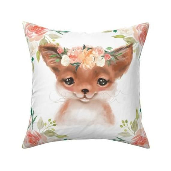 FOX & FLORAL fabric panel, peaches and cream animal pillow fabric, wolf cushion fabric, cut and sew,