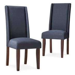 Pleasing Charlie Modern Wingback Dining Chair Navy Set Of 2 Sc Caraccident5 Cool Chair Designs And Ideas Caraccident5Info