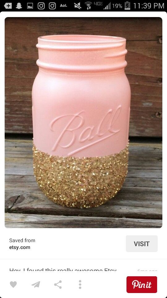 Pin By Marci Evans On Annassweet16 Pink Mason Jars Diy Sweet 16 Decorations Glitter Mason Jars