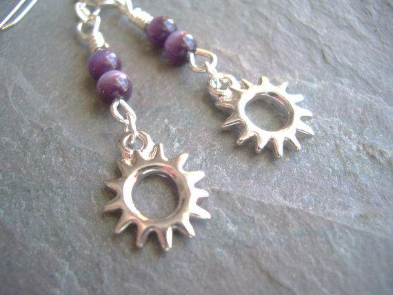 Sterling Silver Earrings / Purple / Tiger's Eye / Bead by FOLIOSA, $15.00