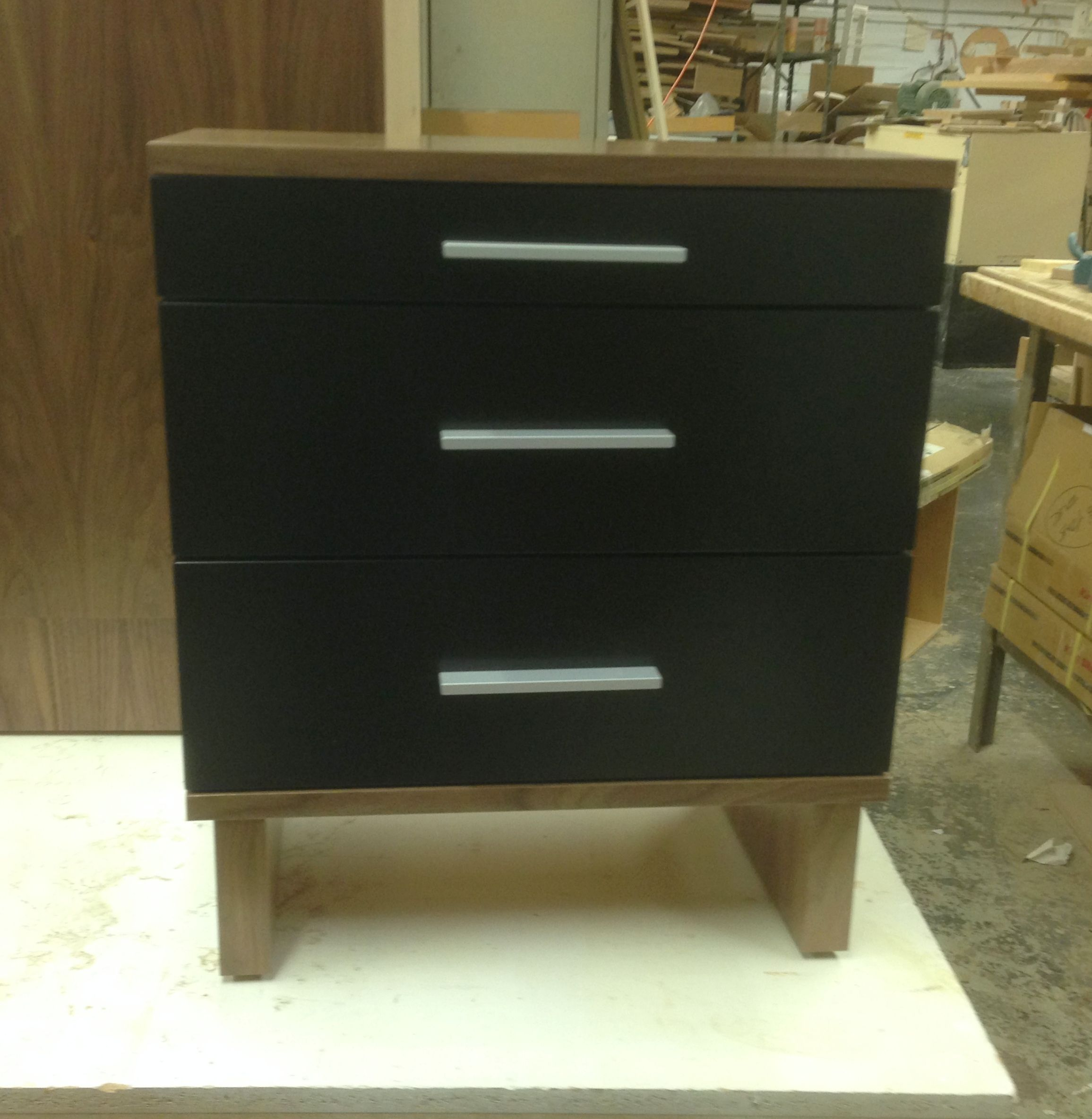 CUSTOM BEDSIDE TABLE In Walnut Veneer With Black Lacquer