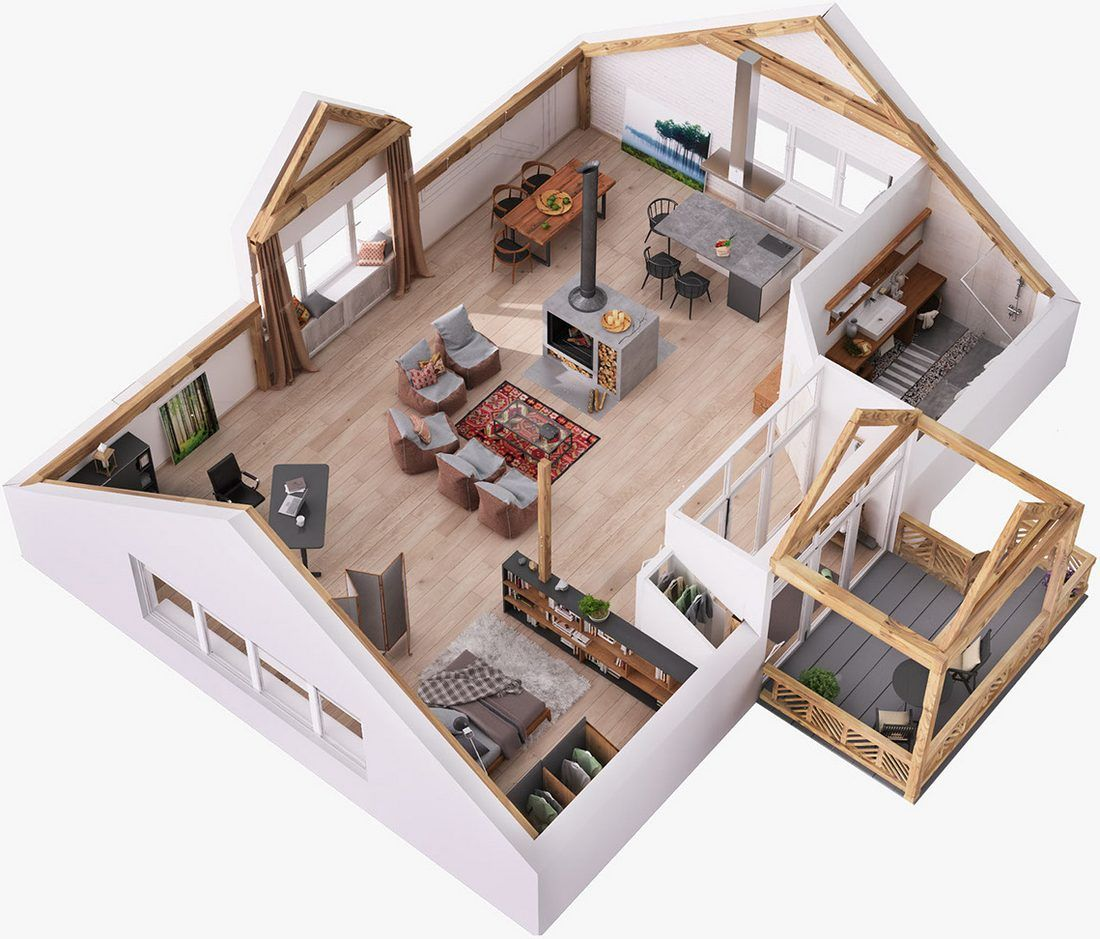Tetőtéri stúdiólakás teljes nyitottsággal falak nélkül