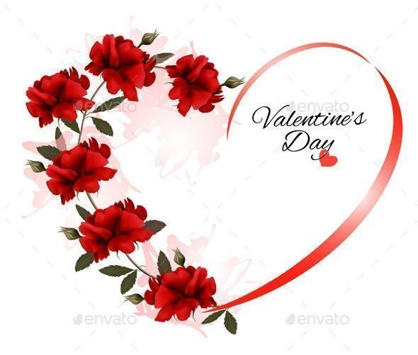 Valentines day background with a bouquet of red roses  Valentines day background