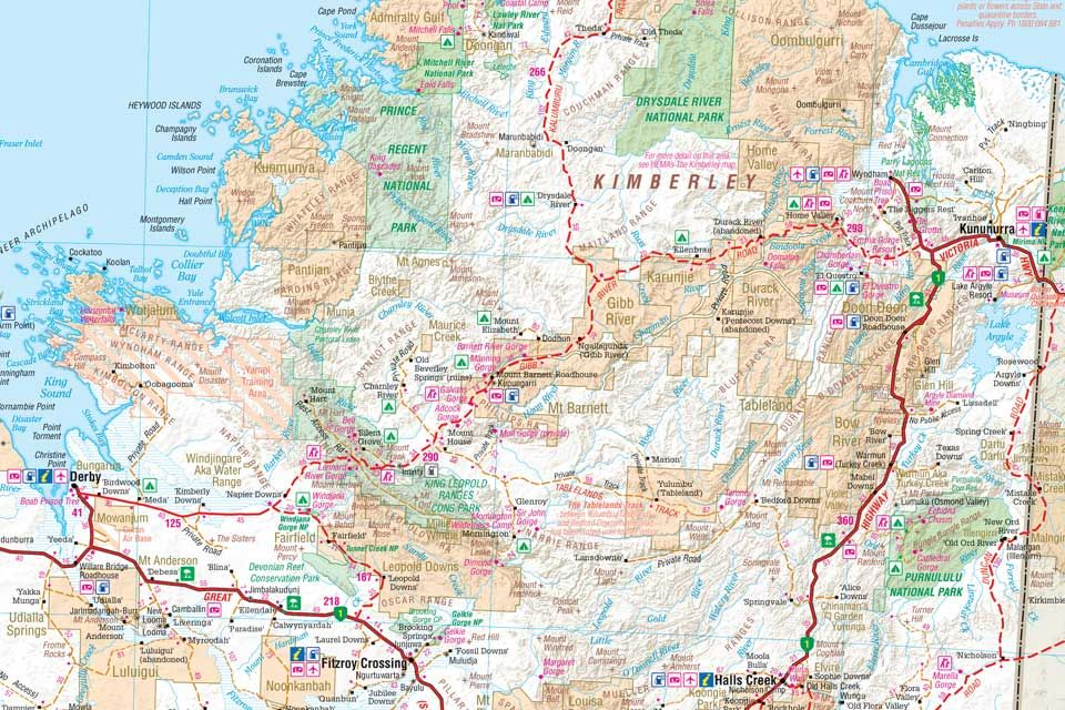 Western Australia 4wd Map.Map For The Gibb River Road That Runs From Kununurra To Derby In