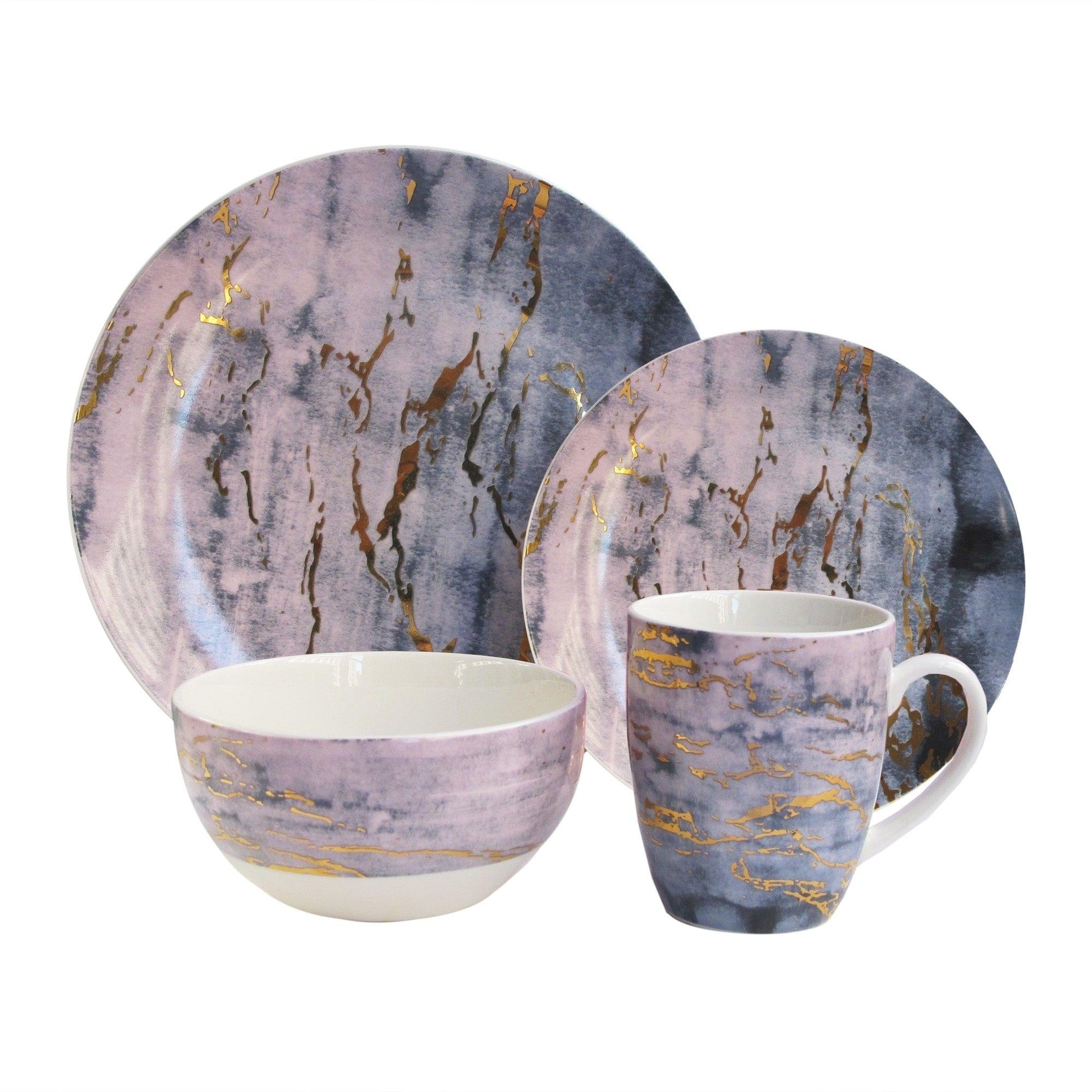 American Atelier Marble Purple Gold Porcelain 16 Piece Dinnerware