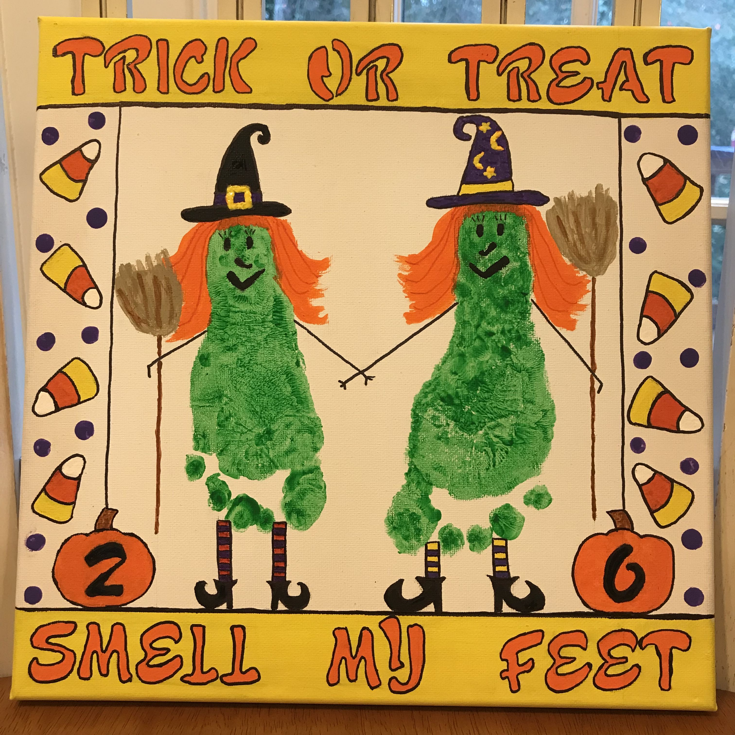 Trick Or Treat Footprint Witch Halloween Preschool