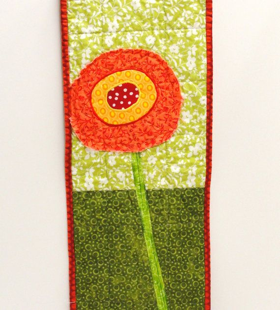 poppy wall quilt single stem orange yellow by moonspiritstudios ...