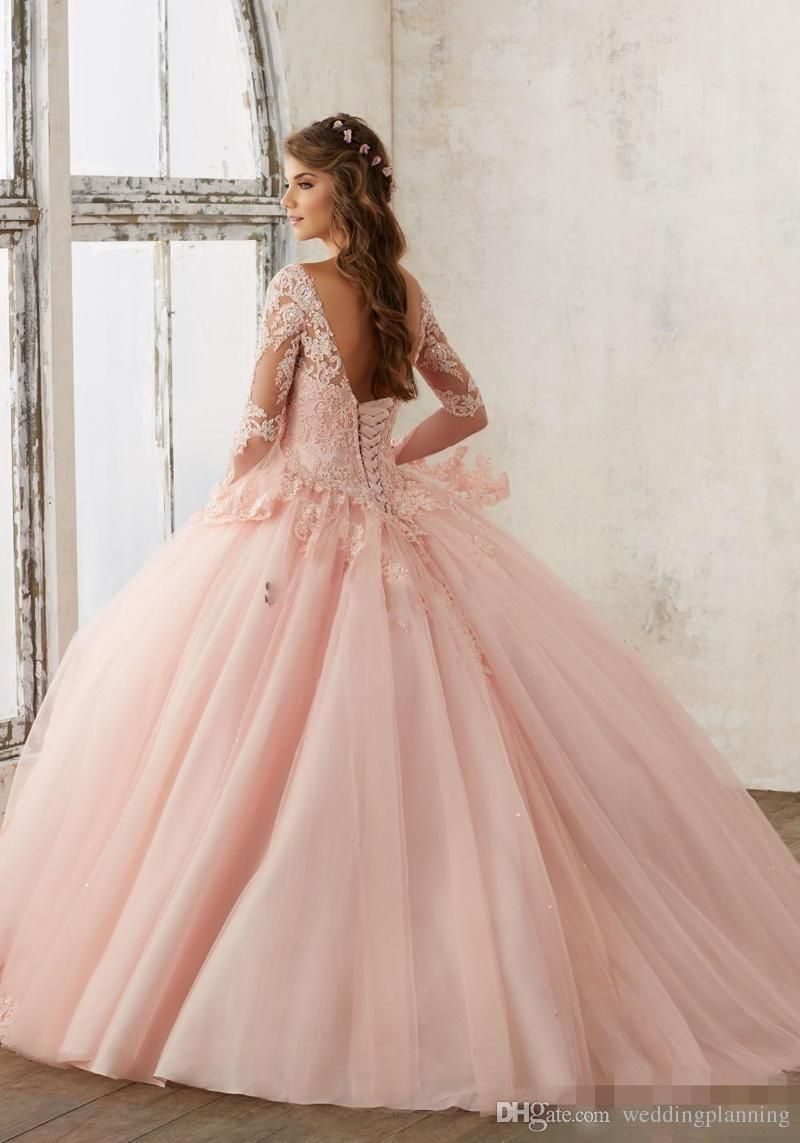 Baby pink blue quinceanera dresses lace long sleeve vneck