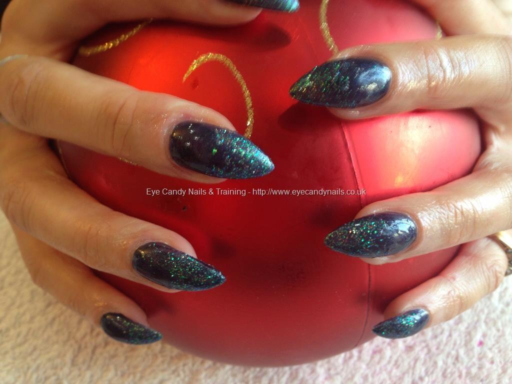 Acrylic nails with dark blue gelish gel polish glitter dust on tips ...