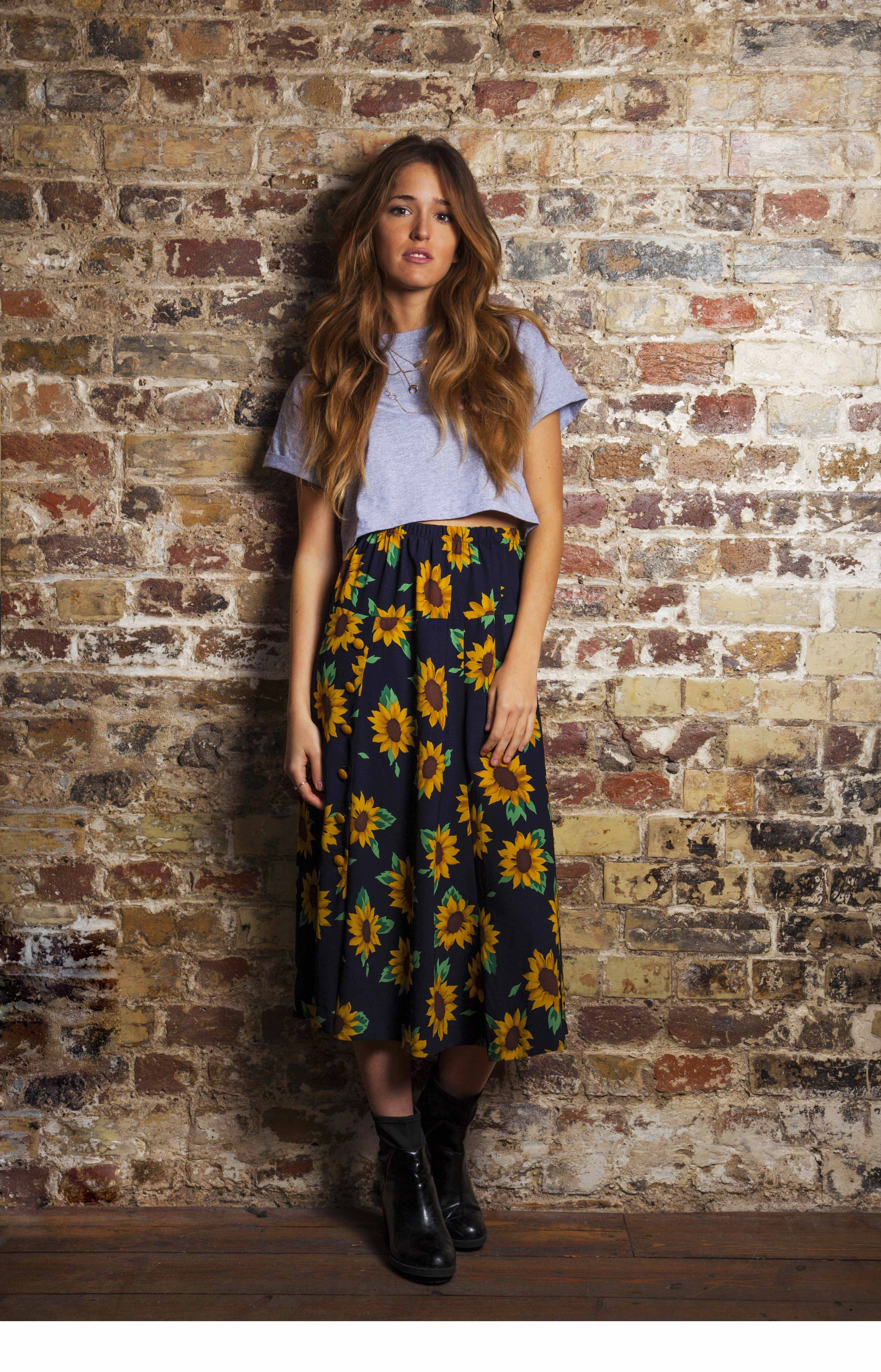 99006a8020 Vintage Midi Skirt - Sunflower Print | On Fleek | Fashion, Boho ...