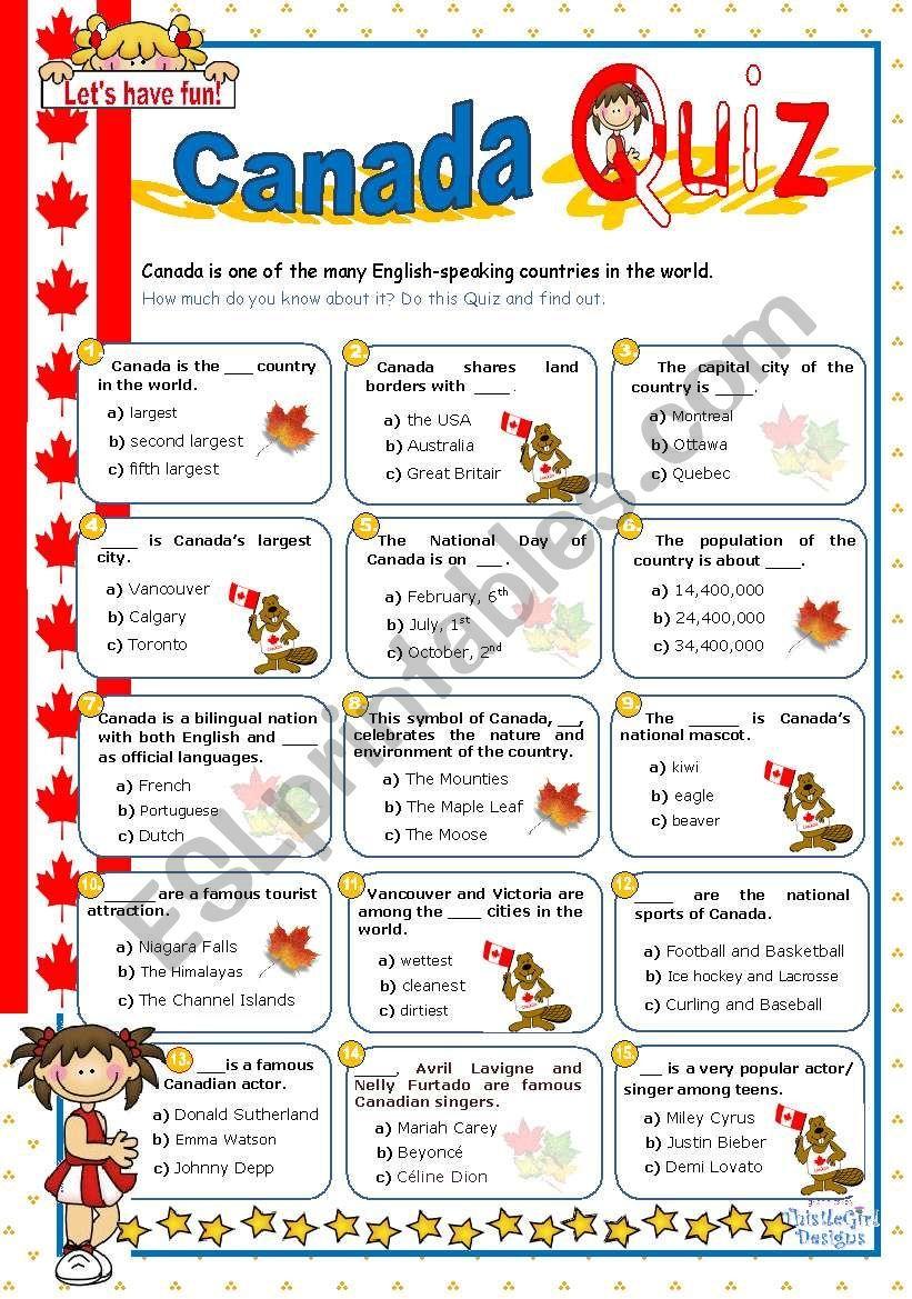 Canada quiz esl worksheet by mena22 in 2020 quiz all