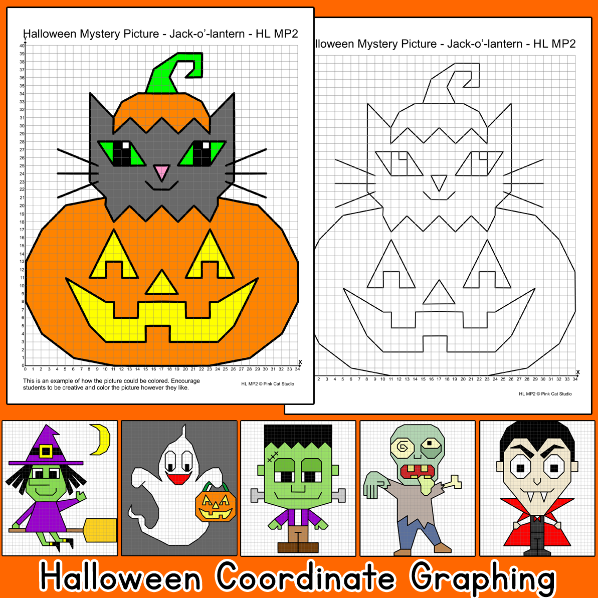 Halloween Math Coordinate Graphing Ordered Pairs