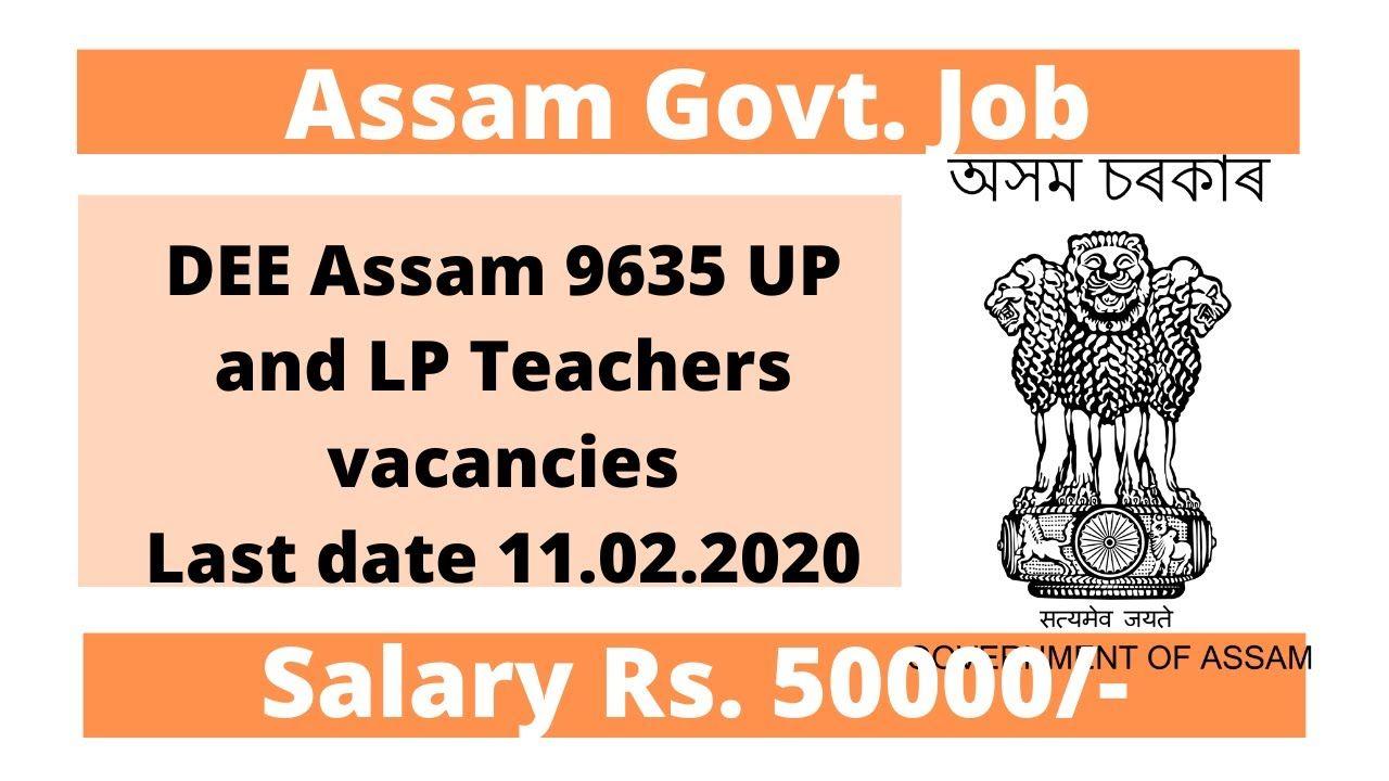 DEE Assam 9635 UP LP teacher vacancies in 2020 Teacher