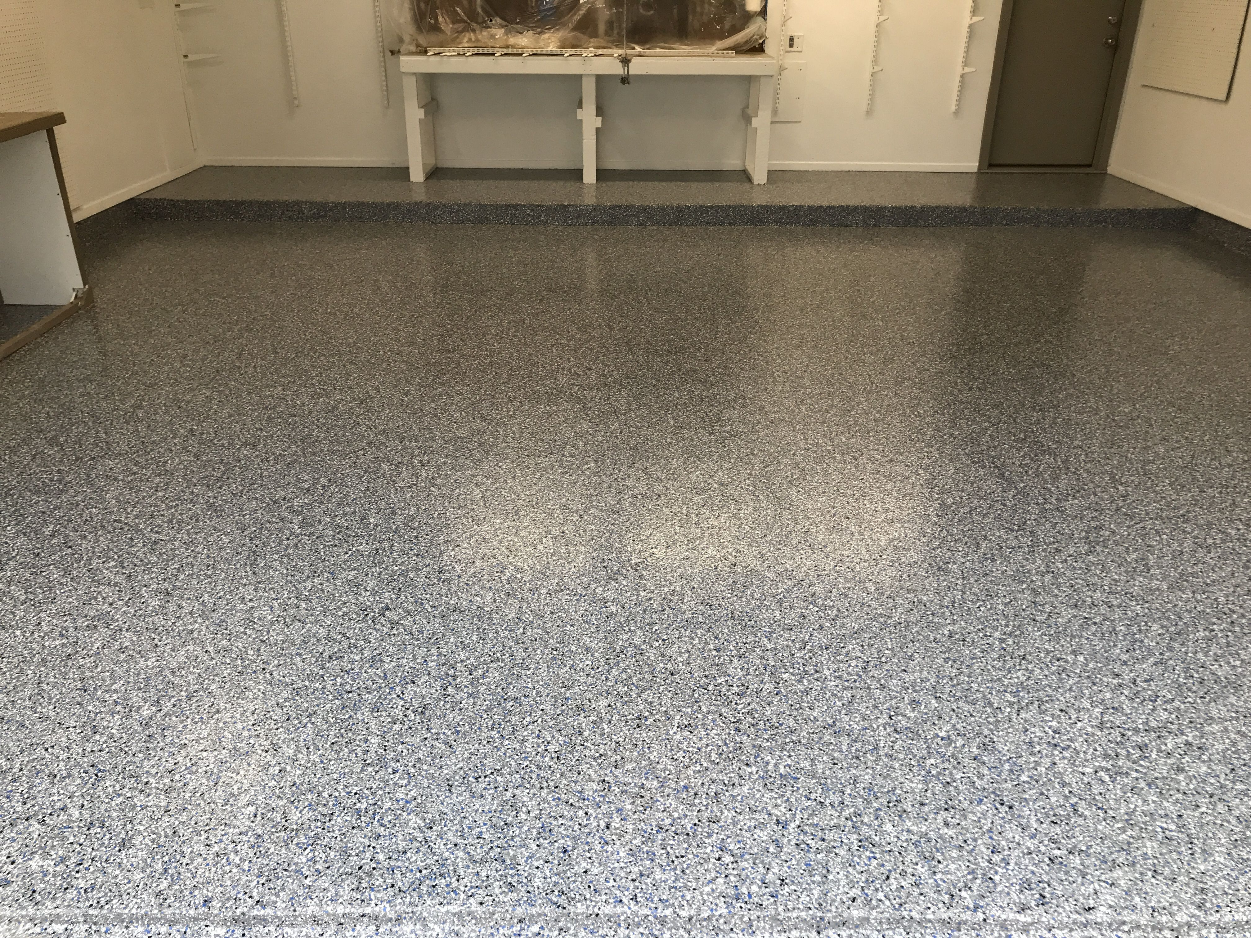 This Floor Had An Existing Coating It Was Removed And Replaced With The Classic Finish In Silver S Garage Floor Flooring Contractor Epoxy Garage Floor Coating