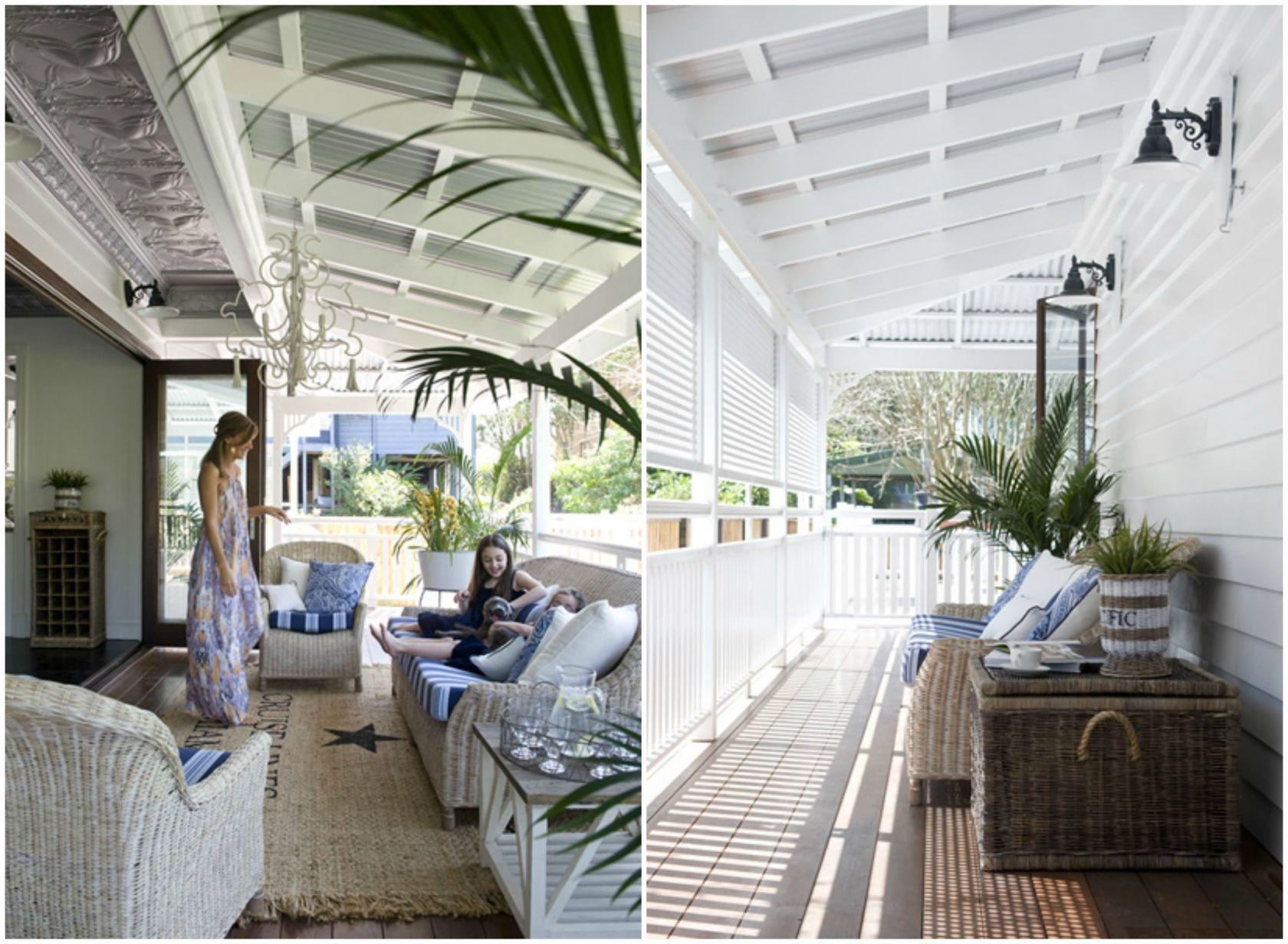 Coastal blue and white verandah Beach house tour: Riverside Hamptons ...