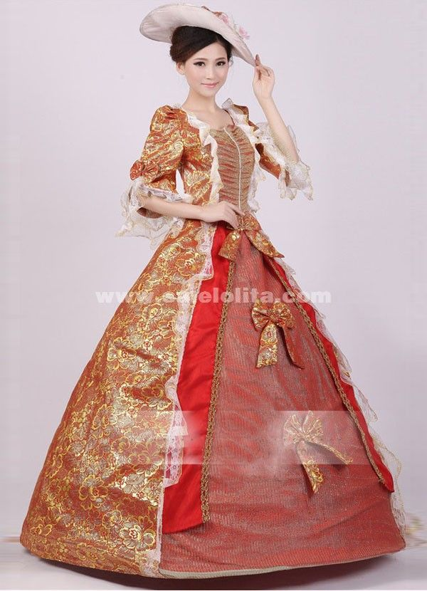 Noble Red Gold Print Royal Palace Marie Antoinette Ball Gown, Civil ...