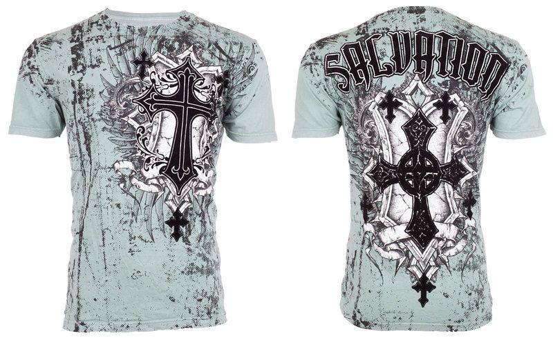 ad6545a9a67 Raw State AFFLICTION Mens T-Shirt SALVATION Cross Tattoo Biker UFC S-2XL   40 b  Affliction  GraphicTee