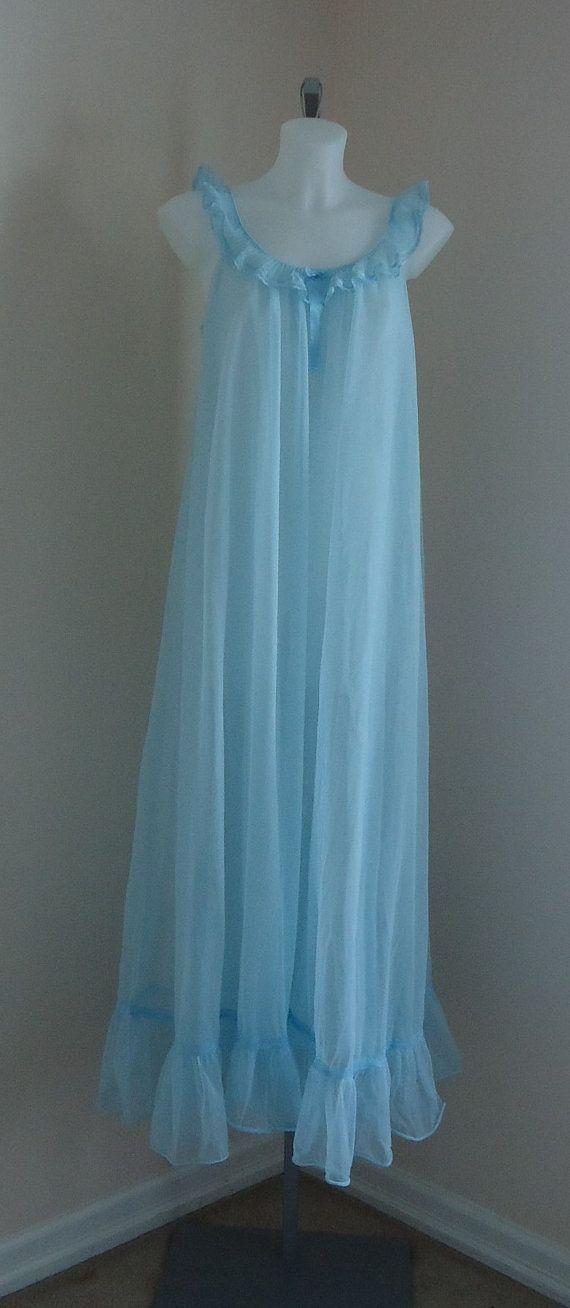 ebbe2a4efb Vintage 1960s Blue Long Chiffon Nightgown on Etsy