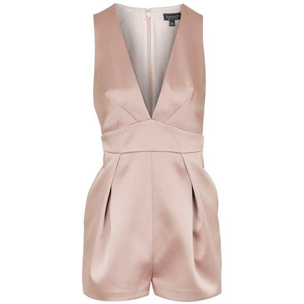 0deb5b4449ee Petite Topshop Satin Romper ( 100) ❤ liked on Polyvore featuring jumpsuits