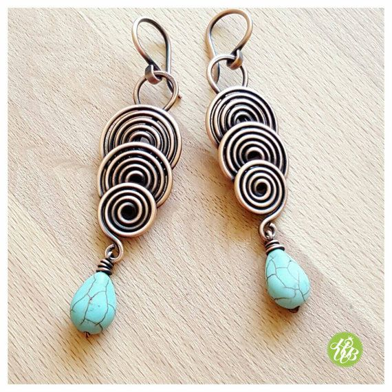 Long spiral earrings turquoise jewelry wire wrapped earring copper ...