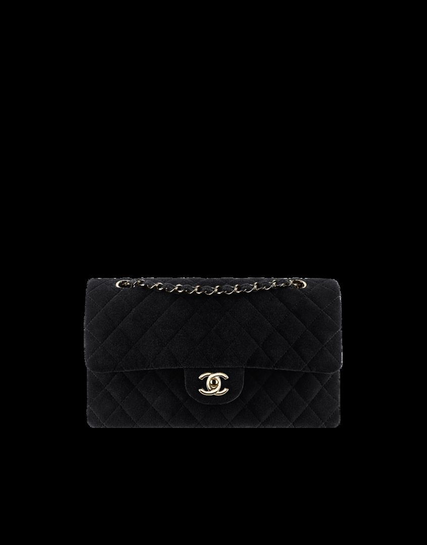 2975b9346 Bolsa, veludo & metal dourado claro-preto - CHANEL | bolsas | Bolsas ...