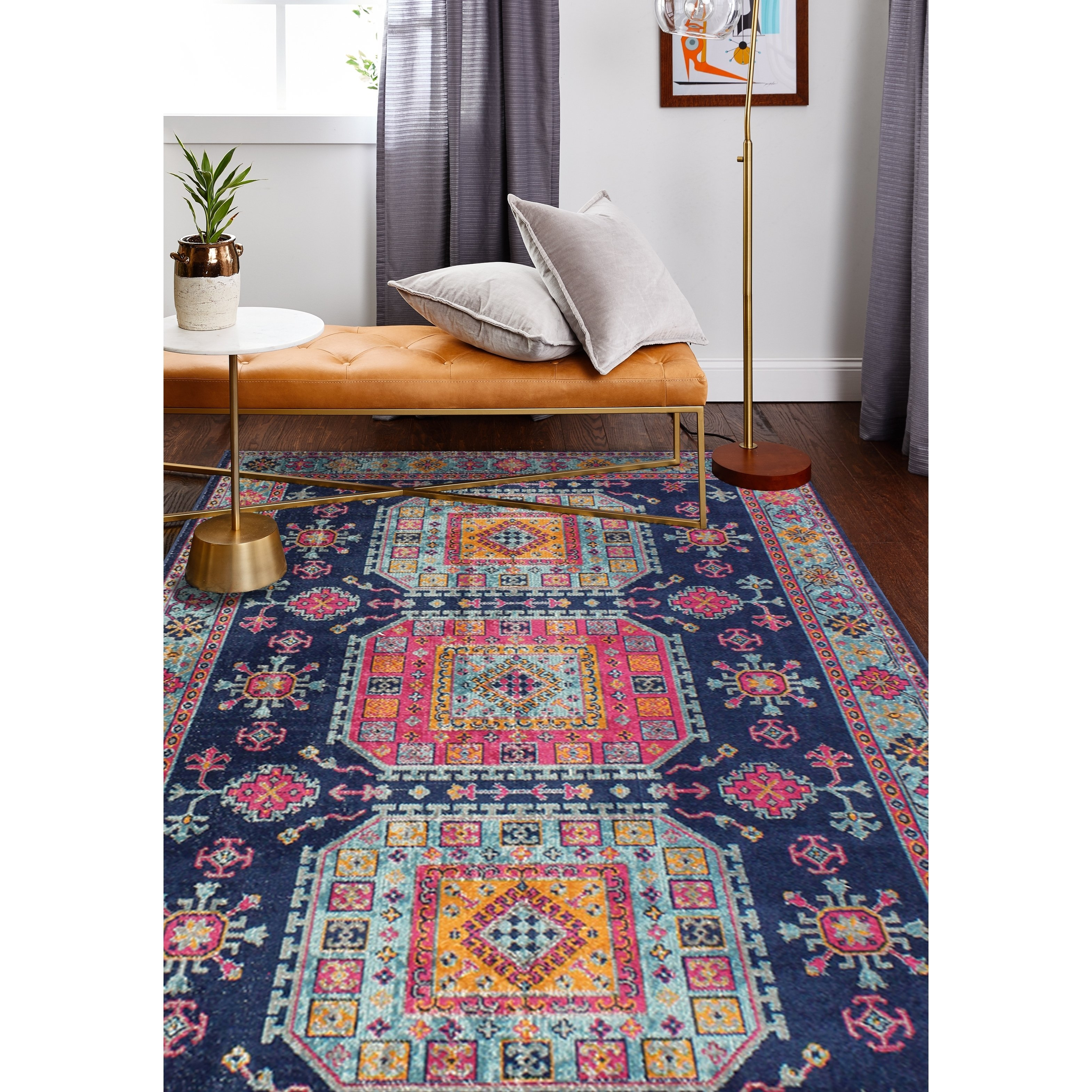 Fausto Dk Blue Transitional Area Rug 8 7 X 11 6 8 7 X 11 6 Dark Blue Polypropylene Graphic Transitional Area Rugs Rugs Colorful Rugs