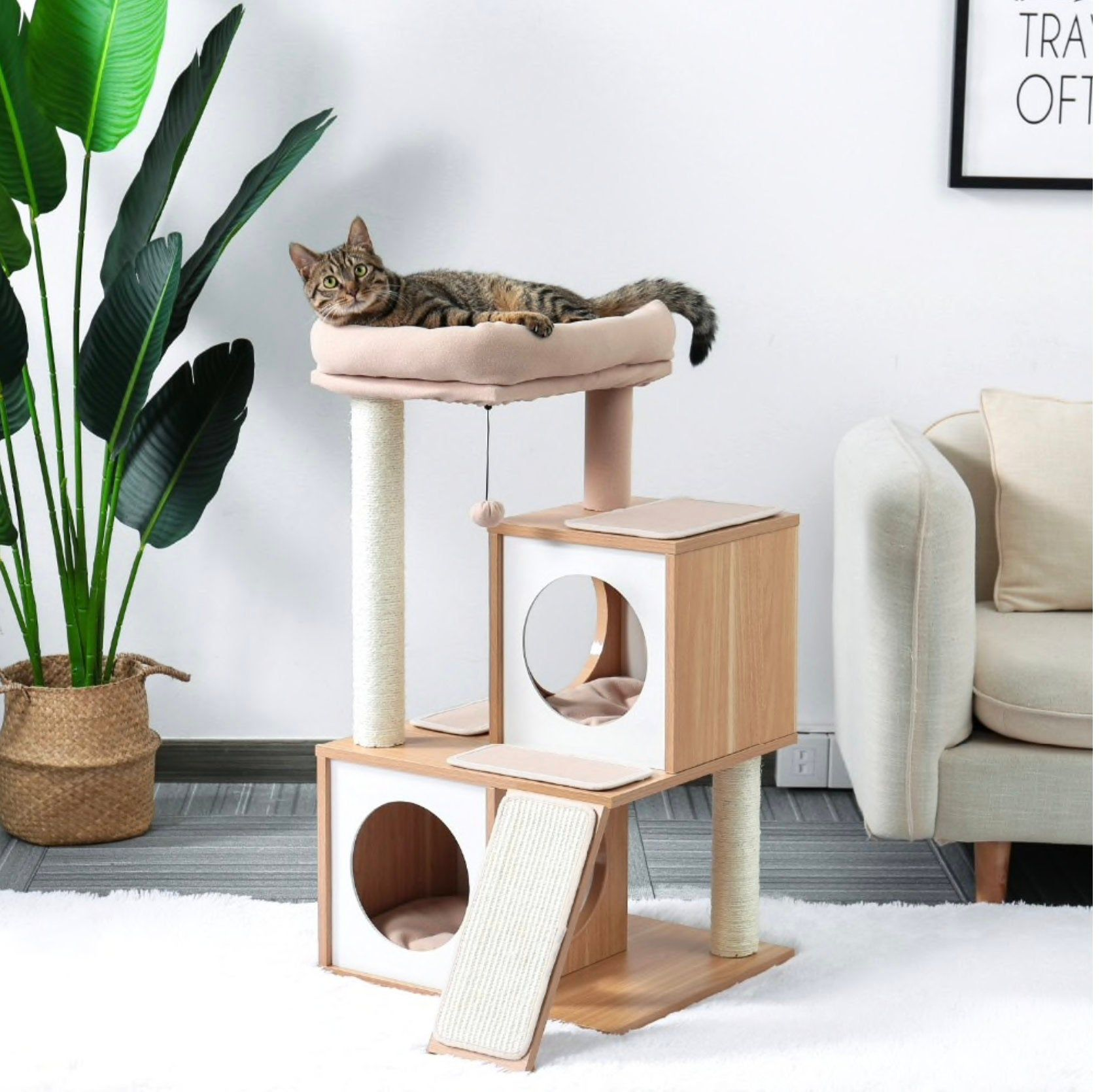 Modern Cat Tree Luxury Cat Towers With 2 Condos Kitten Etsy Maison De Chat Idee Deco Dressing Deco Dressing