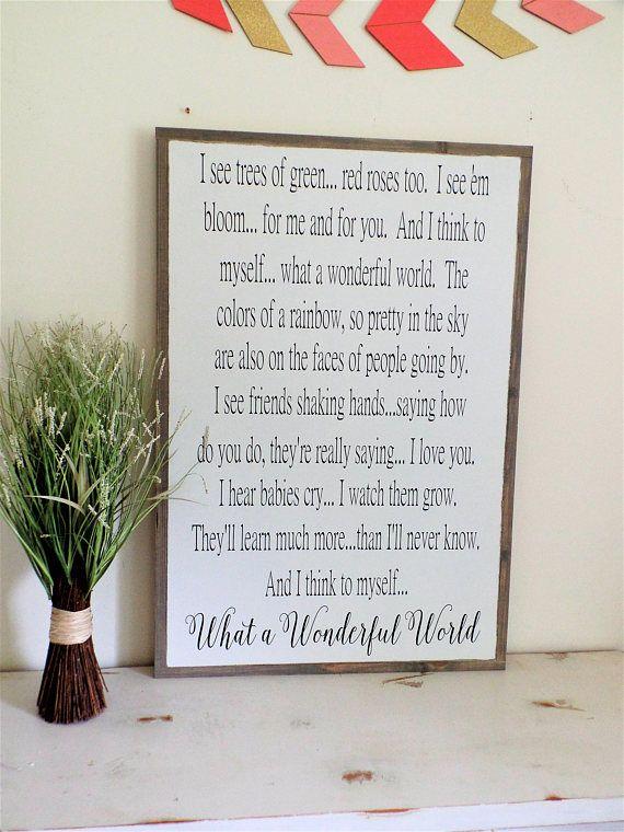 And I Think To Myself What A Wonderful World Sign Lyrics Wood