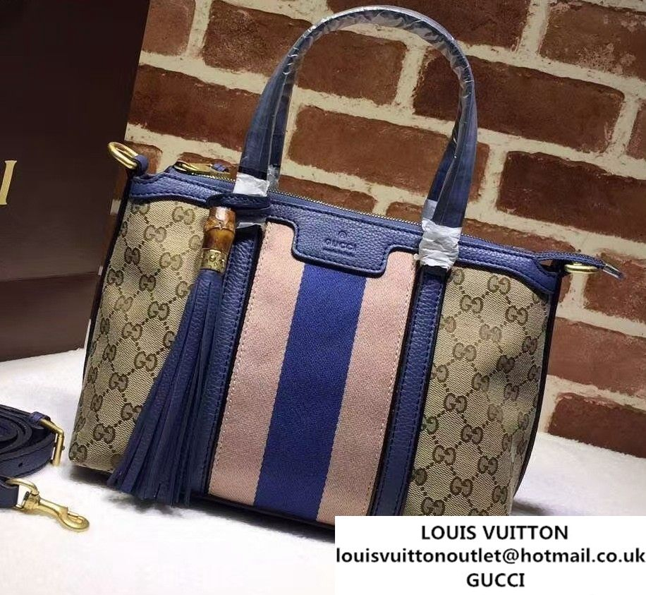 11f694ecc30 Gucci Rania Original GG Canvas Top Handle Small Bag 353114 Blue ...