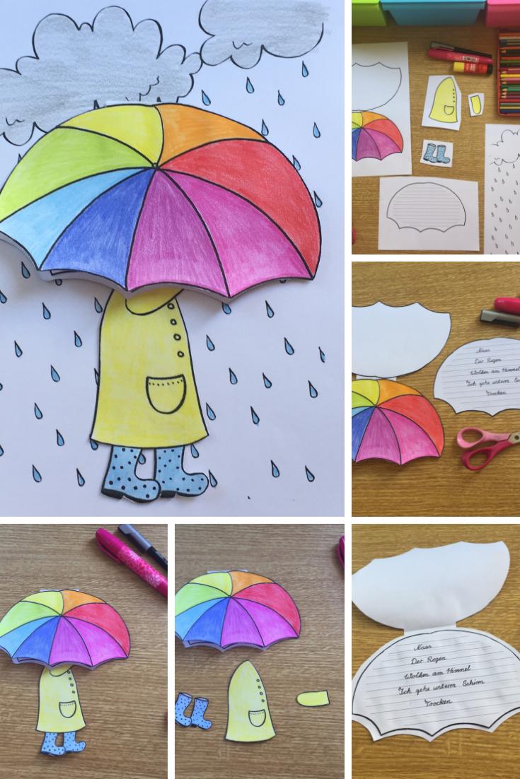 Regenschirm Craftivity für Elfchen, Gedichte oder kleine Schreibanlässe- Herbst und Regen – Unterrichtsmaterial in den Fächern Deutsch & Fachübergreifendes #herbstfensterdekokinder
