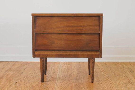 Vintage Mid Century Dixie Walnut Nightstand Side Table 295 Walnut Nightstand Walnut Bedside Table Mid Century Nightstand