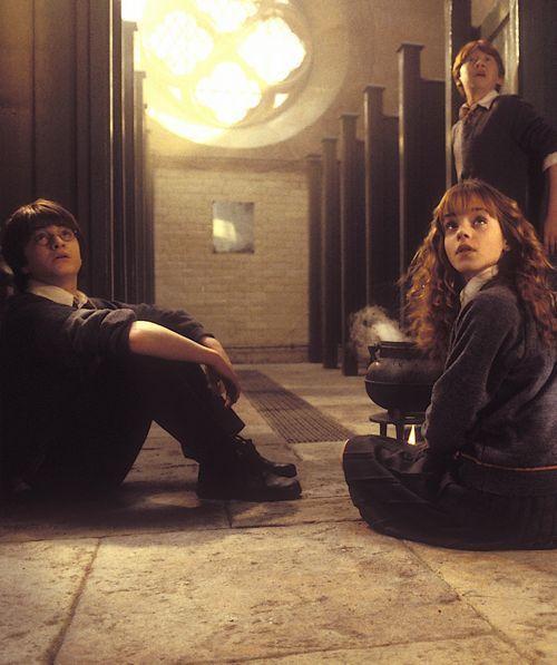 Hermine mit Ron und Harry