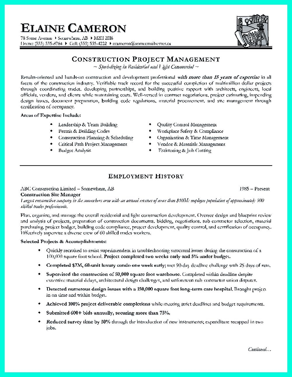 Construction management resume is designed for a