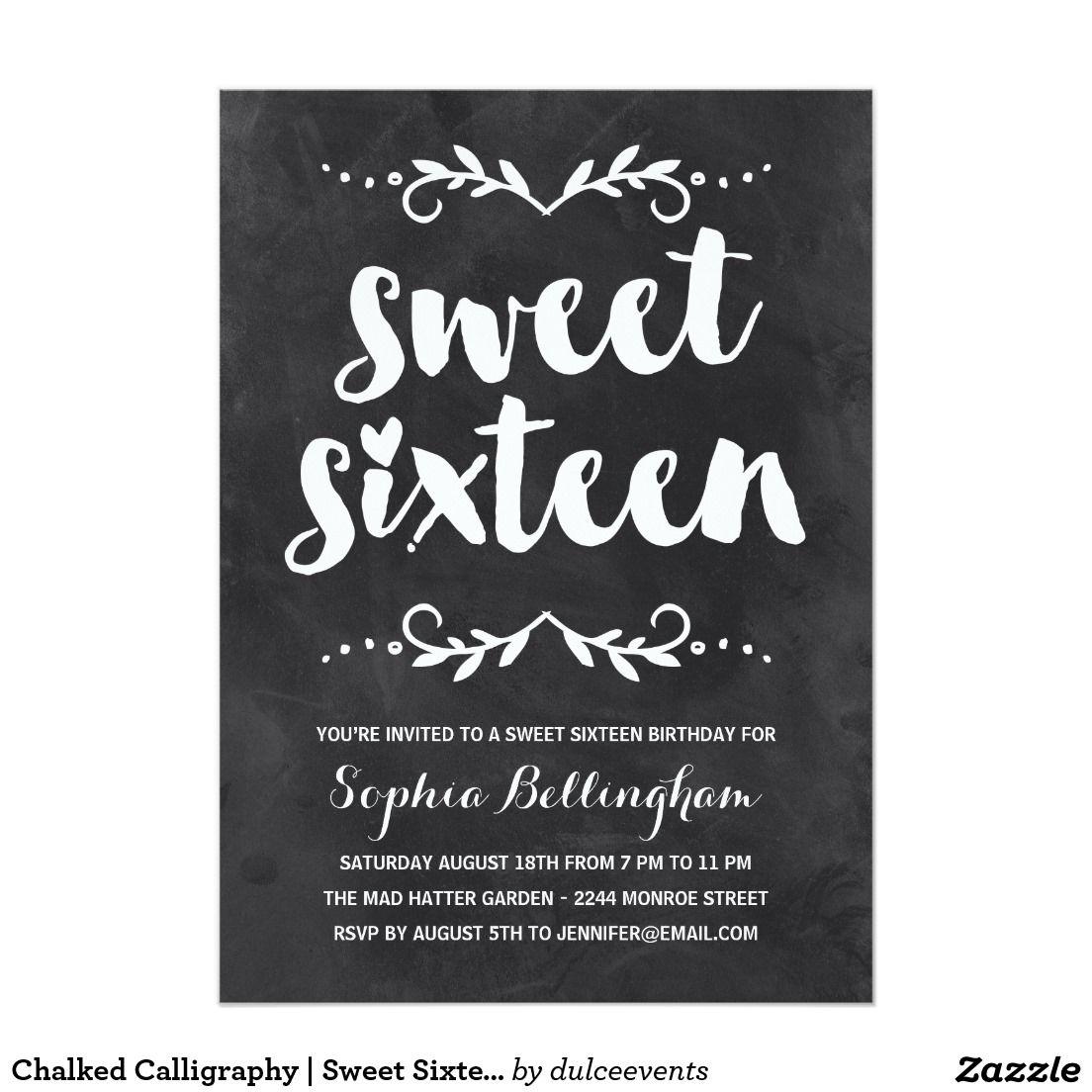 Chalkboard Calligraphy Sweet Six Birthday Invitation