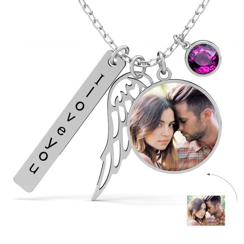 92 5 Silver Jewelry Jeulia Personalized Angel S Wing Photo