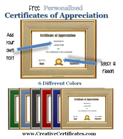 Certificate of appreciation which can be personalized with your own