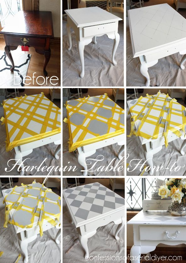 french linen harlequin painted side table how to