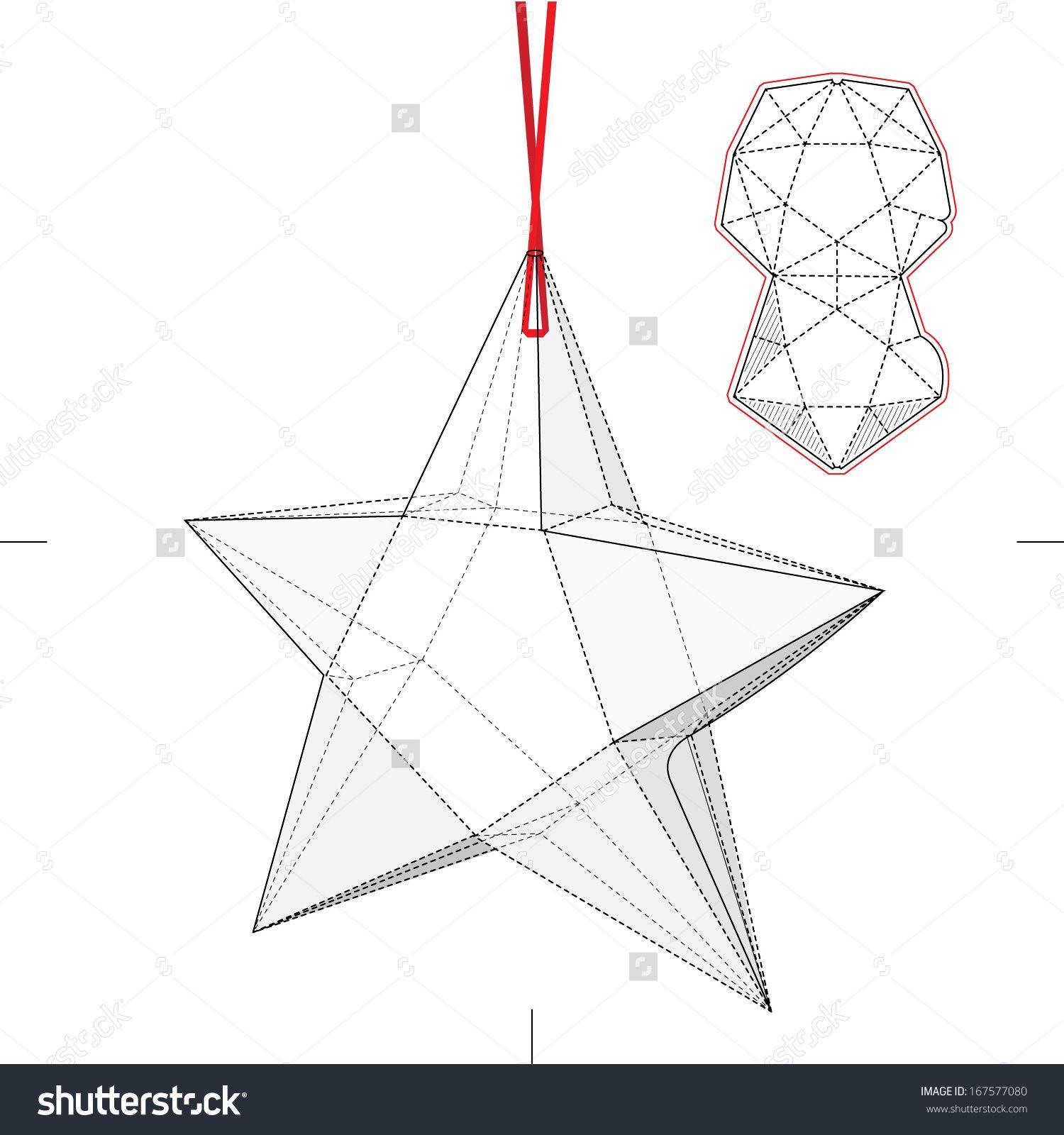 Star Shape Box With Blueprint Layout Stock Vector Illustration ...