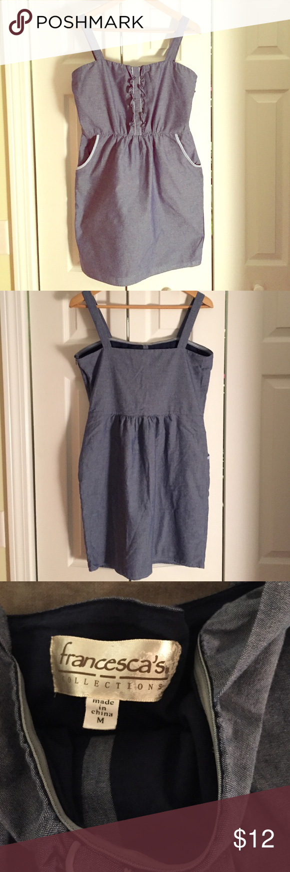 Cute summer dress Cotton denim look dress with cute pockets. Side zip. Great condition. Size medium in juniors. Measures 32 inches from straps to hem. 16 inches from armpit to armpit. Francesca's Collections Dresses Mini