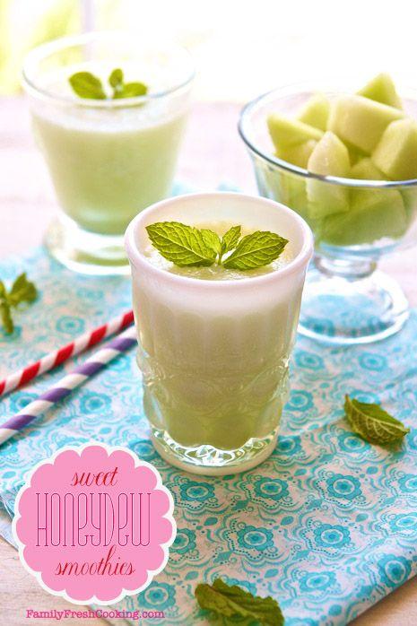 Sweet Honeydew Smoothie Recipes   FamilyFreshCooking.com © MarlaMeridith.com #summer