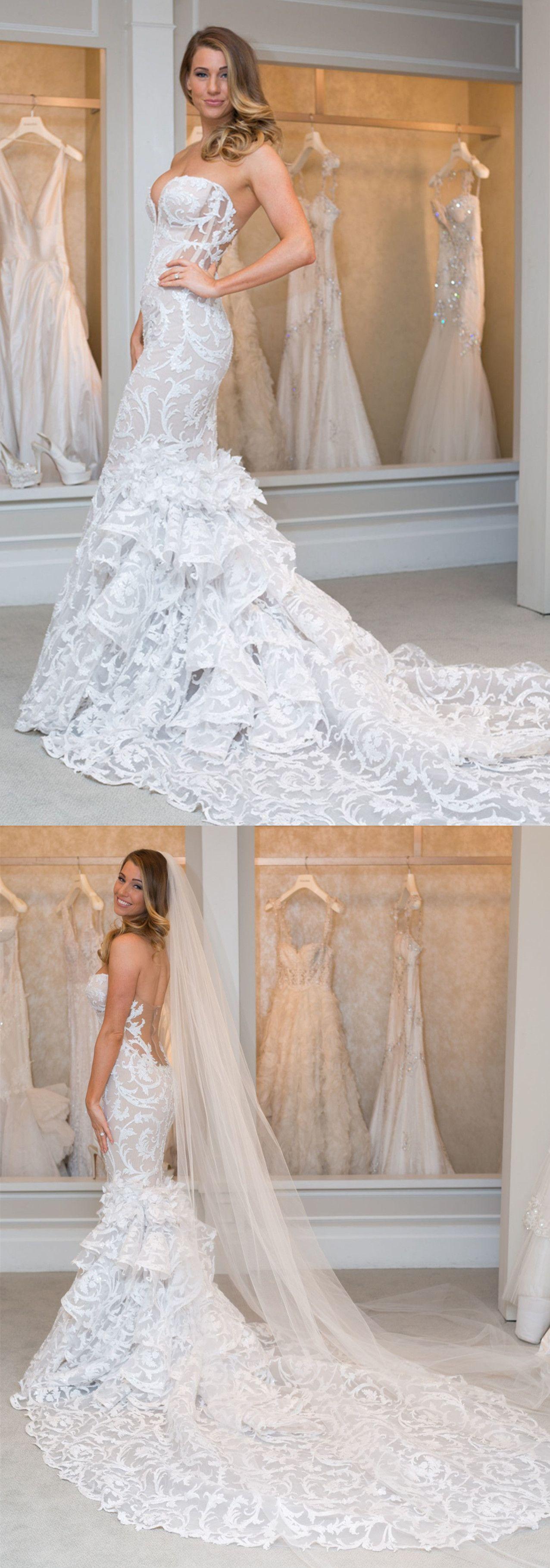 Mermaid sweetheart court train tiered lace wedding dress wedding