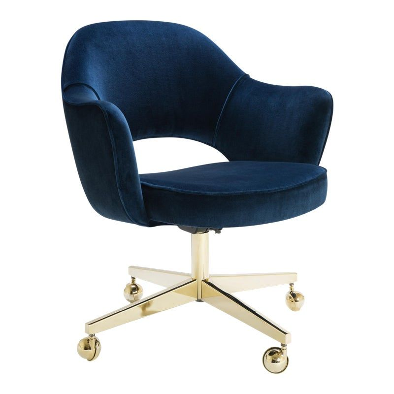 Saarinen Executive Arm Chair In Navy Velvet Swivel Base 24k Gold