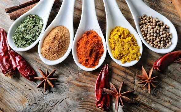 Spices By Hitdelight Various Of Spices On Rustick Wooden