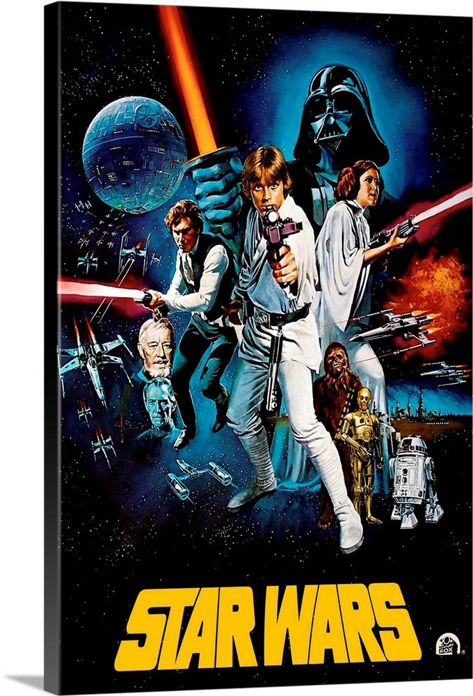 Large Solid-Faced Canvas Print Wall Art Print entitled Star Wars (1977)