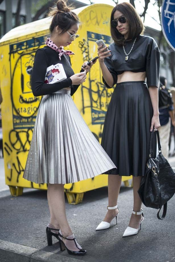 If you have a boyish frame, try a flared skirt for a feminine silhouette.