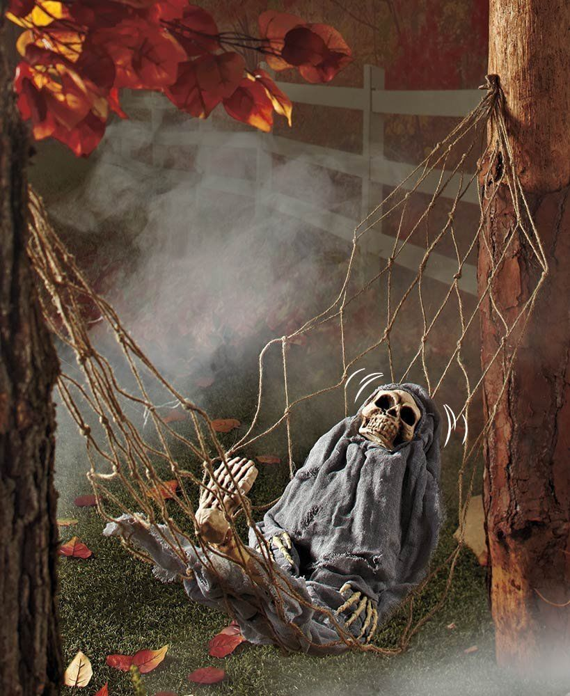 Interactive Skeleton in Hammock Spooky Halloween Decoration Sound - Spooky Halloween Decorations