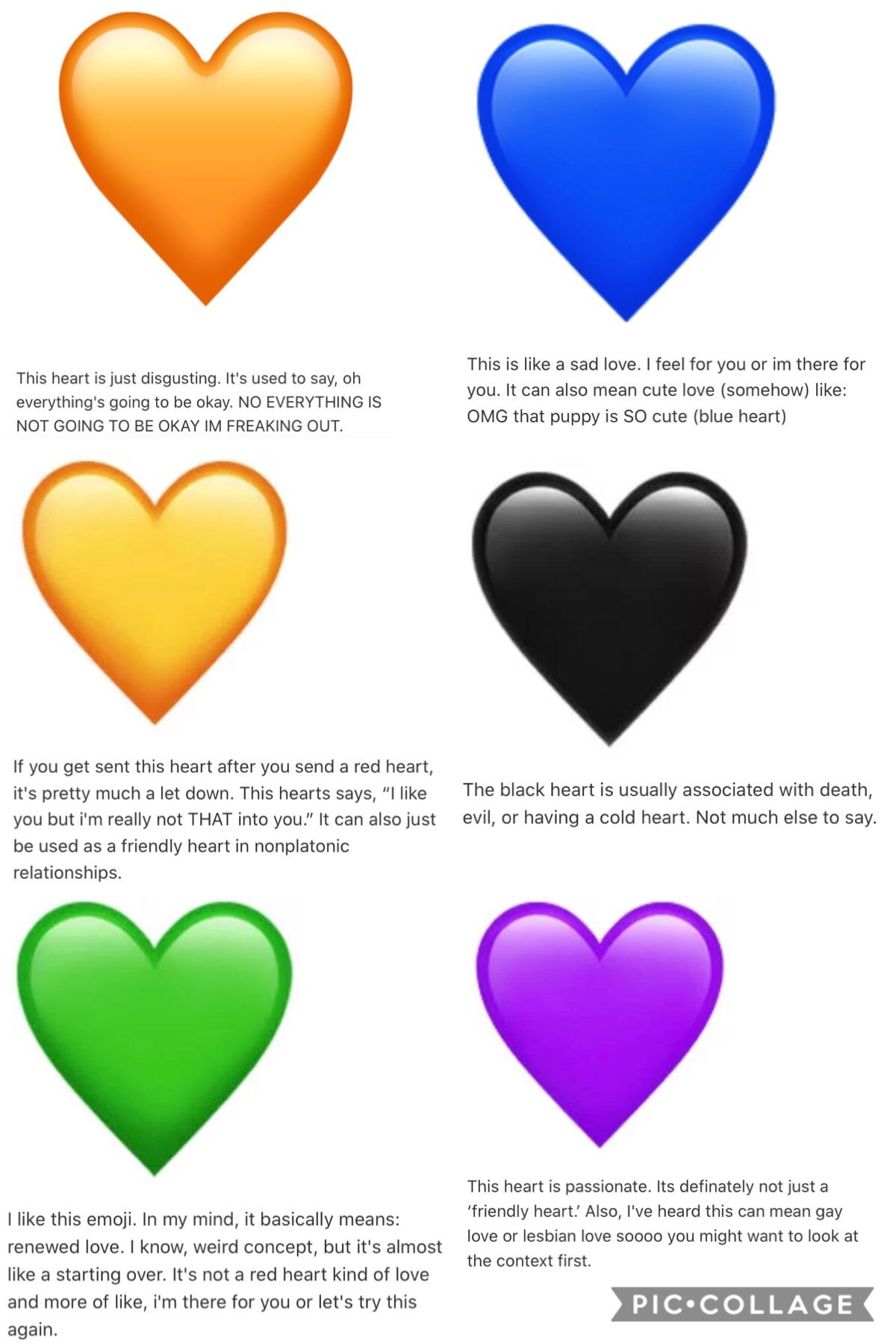 Meanings of different colored hearts The red one means love just ...