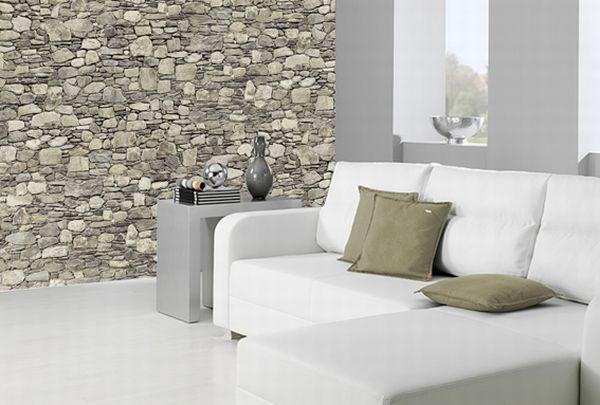 Deco wall foto behangpapier fotomuur wall of stones stenen muur slaapkamer pinterest deco for Deco slaapkamer