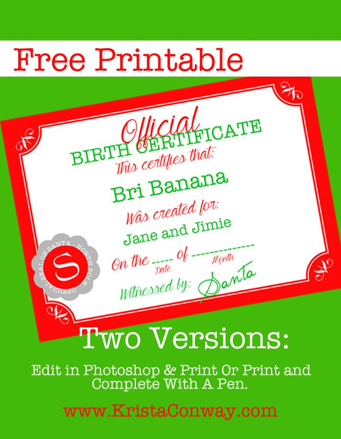 Elf On The Shelf Birth Certificate u2013 Printable HOLIDAYS Elf on - birthday certificate templates free printable