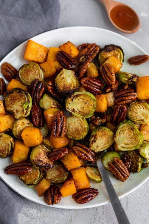 Maple Bourbon Air Fried Brussels Sprouts & Squash - Dash of Mandi #buffalobrusselsprouts